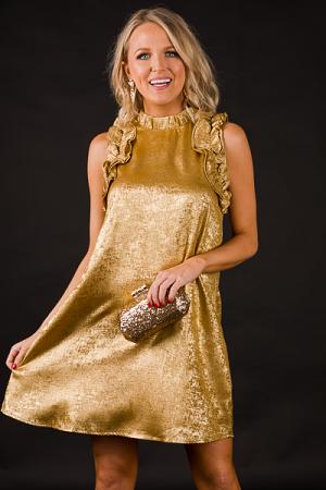 Golden Ruffle Party Dress