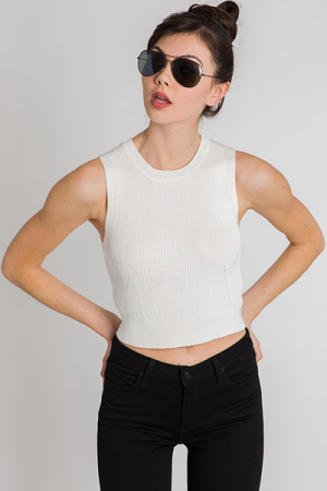 Ribbed Crop Top, White