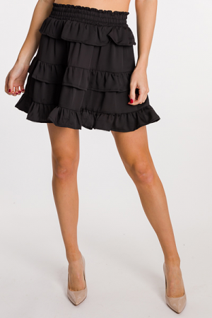 Ruffle Layer Skirt, Black