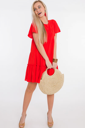 Tomato Tiered Flutter Dress