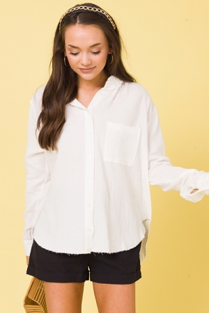 Mailee Puff Button Up, Ivory