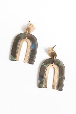 Gold Acrylic Arch Earrings