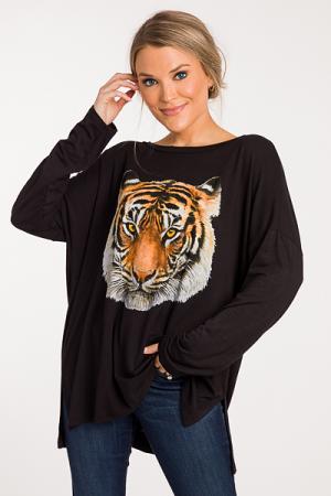 Tiger Graphic LS Tunic, Black