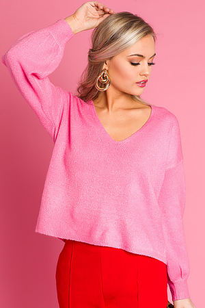 Bubblegum V-Neck Sweater