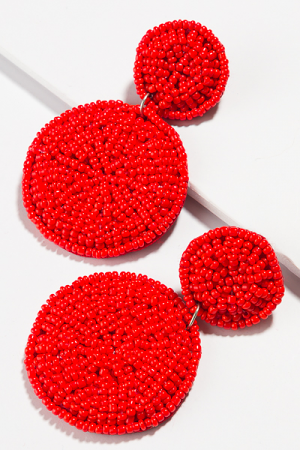 Bead Dial Earring, Red