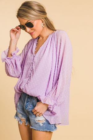 Swiss Button Front Blouse, Lilac