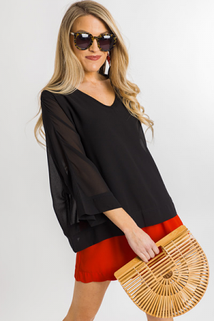 Silky Lining Blouse, Black
