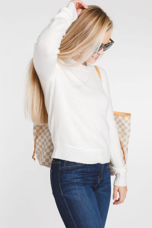 Cropped LS Sweater, Ivory