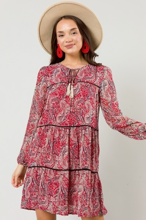 Tiered Paisley Dress, Red