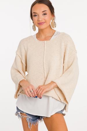 Flipped Seams Sweater, Natural