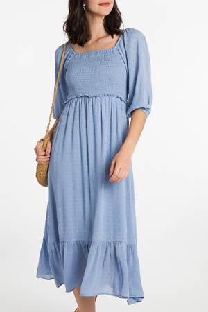 Swiss Dot Smocked Midi