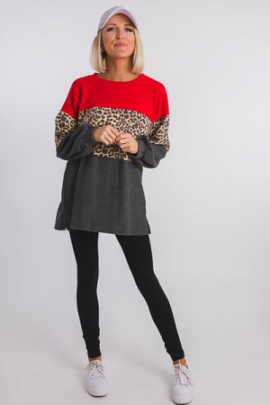 Brushed Leopard Stripe Pullover