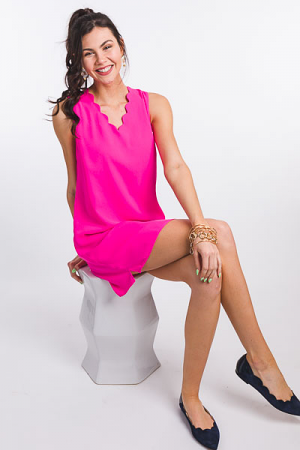 Scalloped V Dress, Hot Pink
