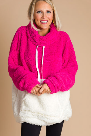 2 Tone Cowl Sherpa Pullover, Pink