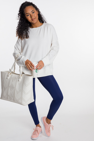 Box Out Solid Pullover, White