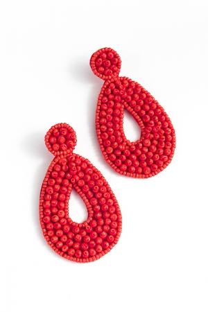 Bubble Bead Earring, Red