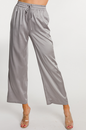 Luxe Silk Pants, Silver