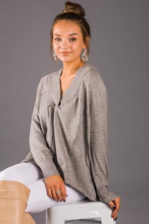 Erin Seams Pullover, Grey