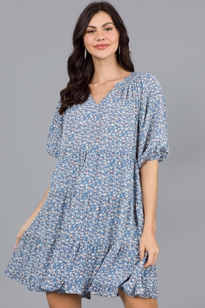 Martha Floral Dress, Blue