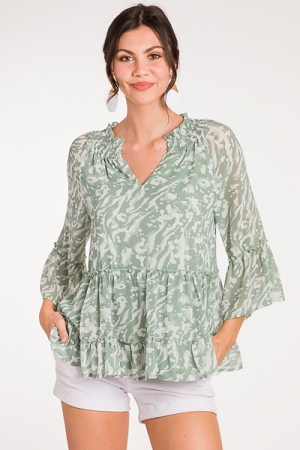 Current Tiered Blouse, Sage