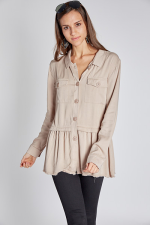 Button Down Babydoll Tunic
