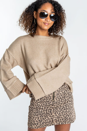 Zip Front Cheetah Skirt