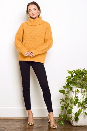 Randi Waffle Sweater, Mustard