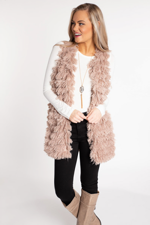 All the Feels Fur Vest, Mocha