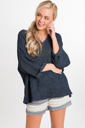 Piper Knit Top, Navy