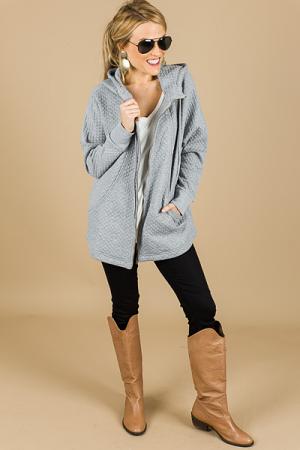 Quilted Zip Up Jacket, Grey