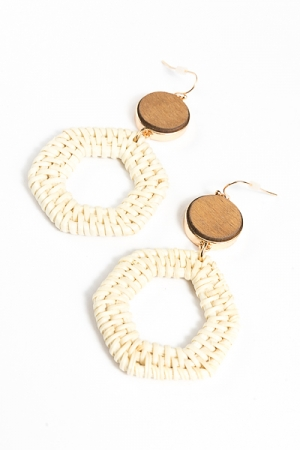 Rattan Hexagon Earrings, Ivory