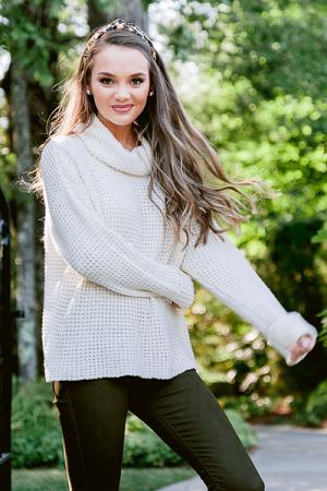 Wendy Waffle Knit Sweater, Cream