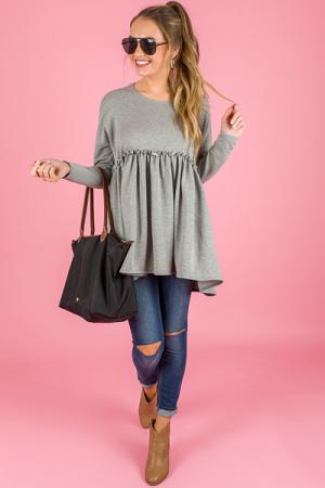 Ruffled Sweatshirt, Heather Grey