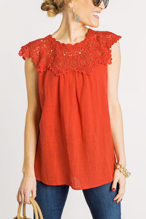 Girl Next Door Top, Coral