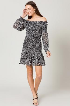 Smock Top Speck Dress, Black