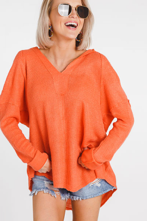 Perfect Hooded Pullover, Coral