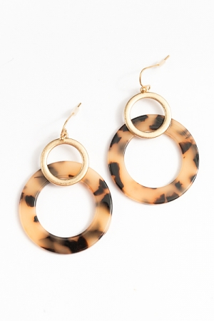Acrylic & Metal Circle Earrings, Tortoise