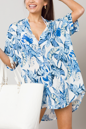 Hawaii Palms Shirt Dress