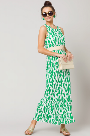 Abstract Cross Back Maxi, Green