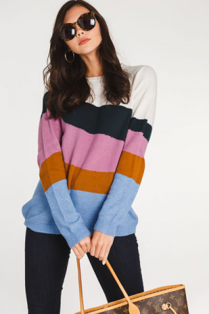 Slanted Stripes Sweater, Multi