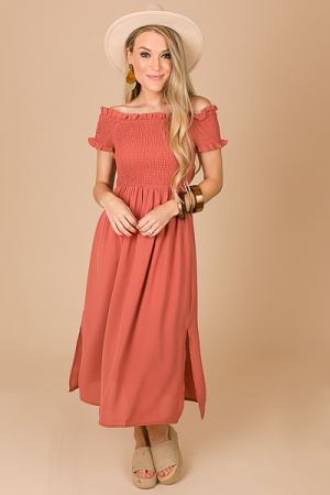Isabelle Smocked Midi, Red Brick