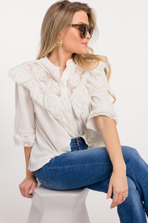 Lace Waffle Knit Top, Ivory