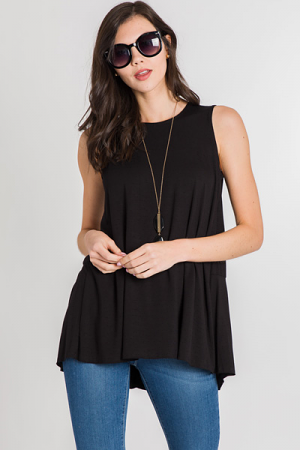 Back Seam Tunic Tank, Black