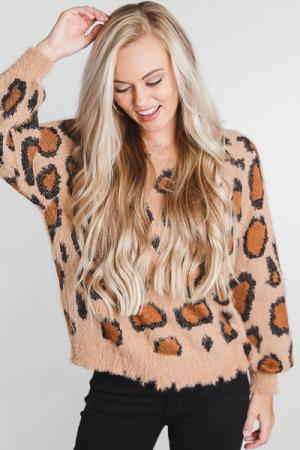 Fuzzy Feels Leopard Pullover