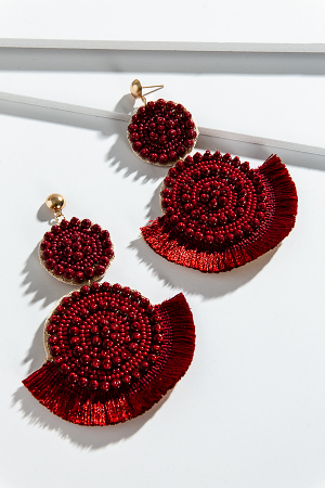 Fringe Bead Ear, Burgundy