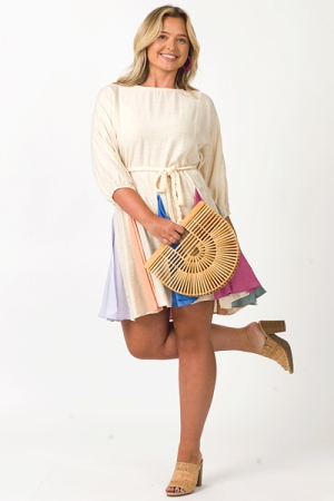 Rainbow Panels Belted Dress, Champagne
