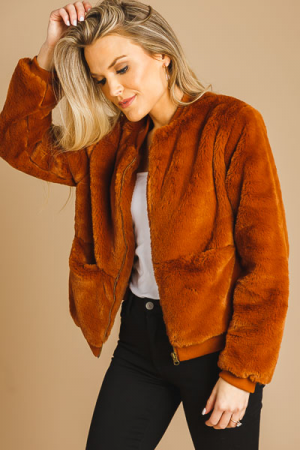 Fur Bomber Jacket, Cognac
