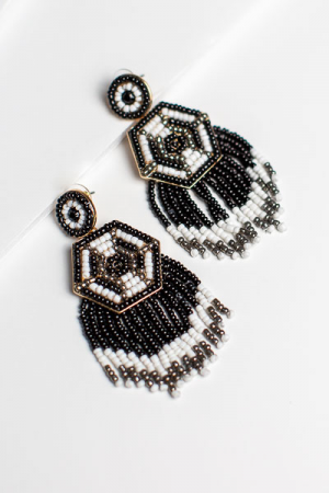 Haute Hexagon Earrings, Black