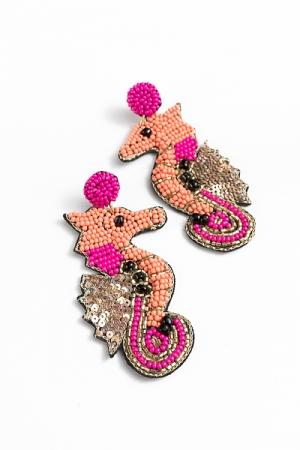 Bead Seahorse Earrings, Coral