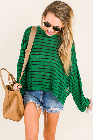 Green Light Striped Sweater